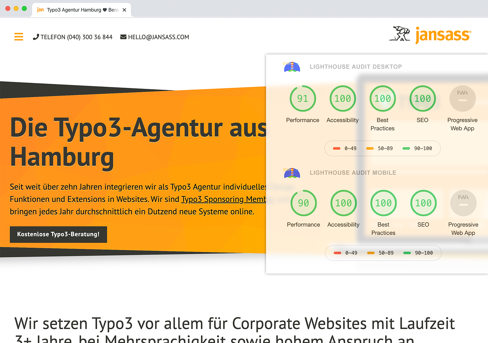 Typo3 Speed + SEO-Optimierung mit Lighthouse Audits