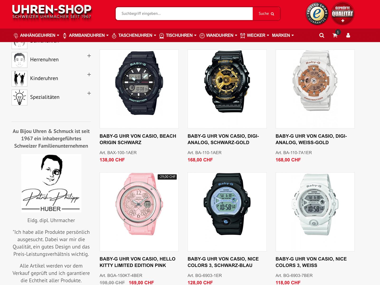 Adwords und SEO Optimierung Uhren-Shop.ch Schweiz