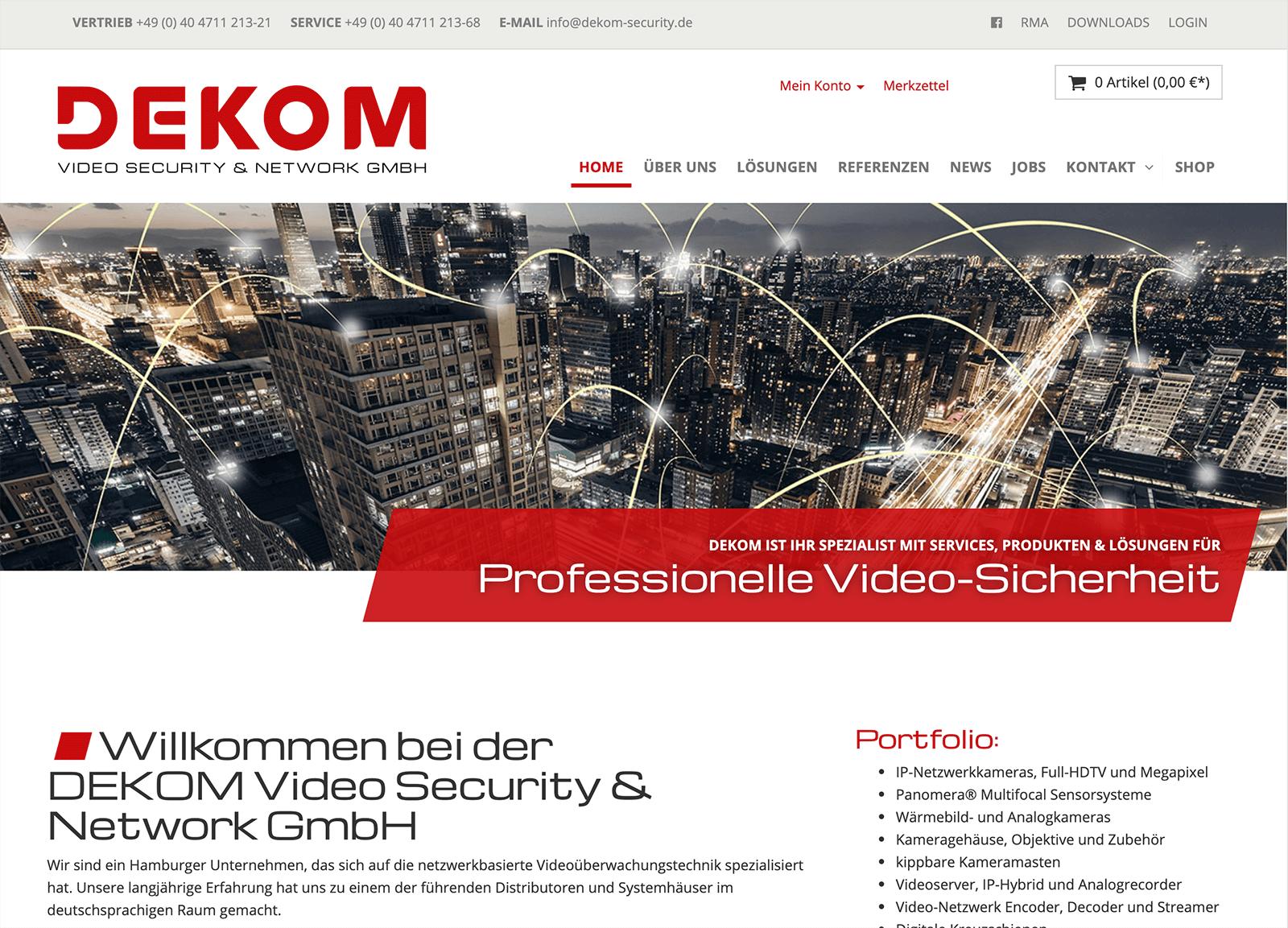Shopware sowie Anbindung an Microsoft Dynamics/Navision für Dekom Security Network/Dallmeier
