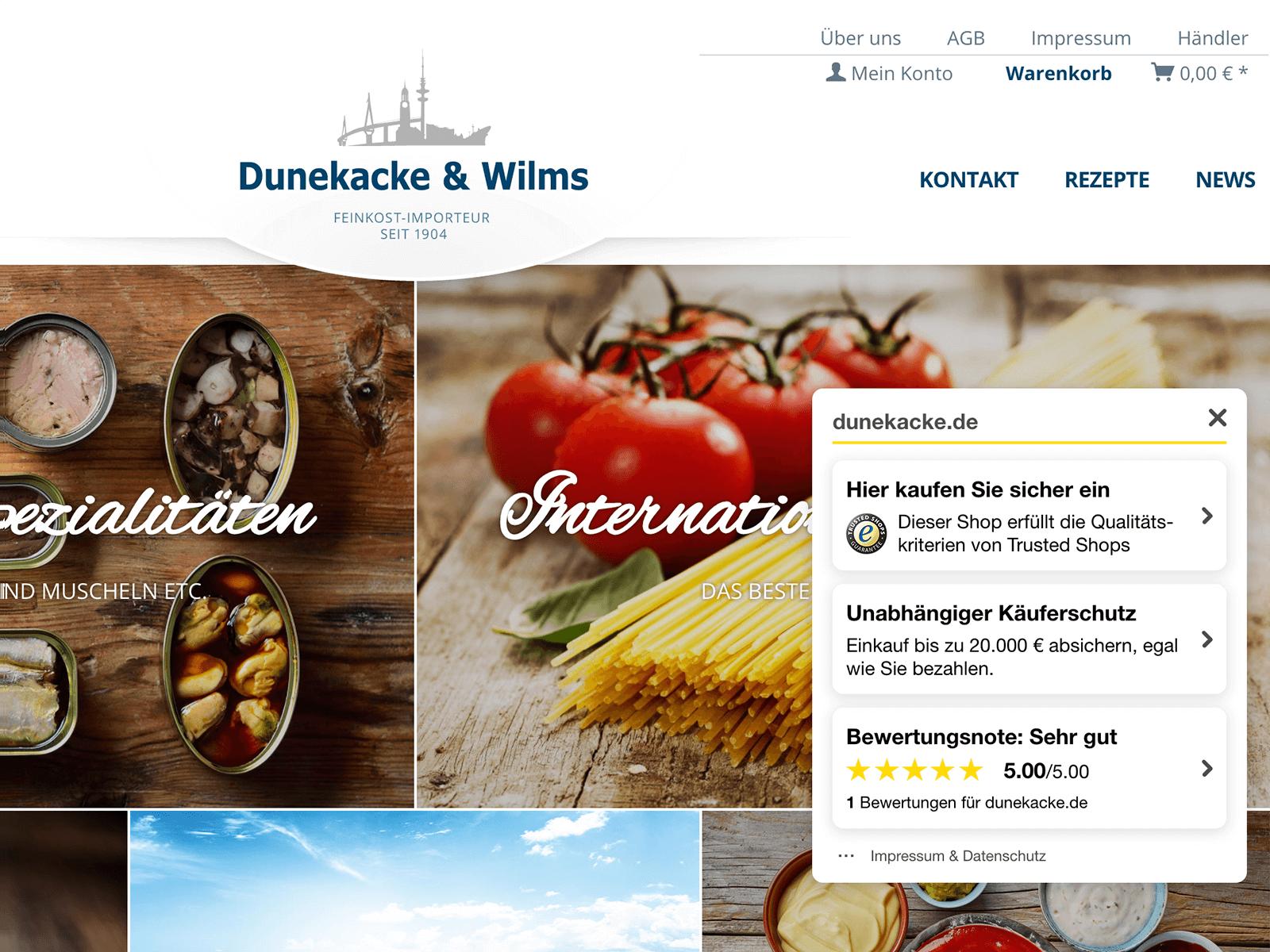Trusted Shops Zertifizierung auf Shopware für D&W Hamburg
