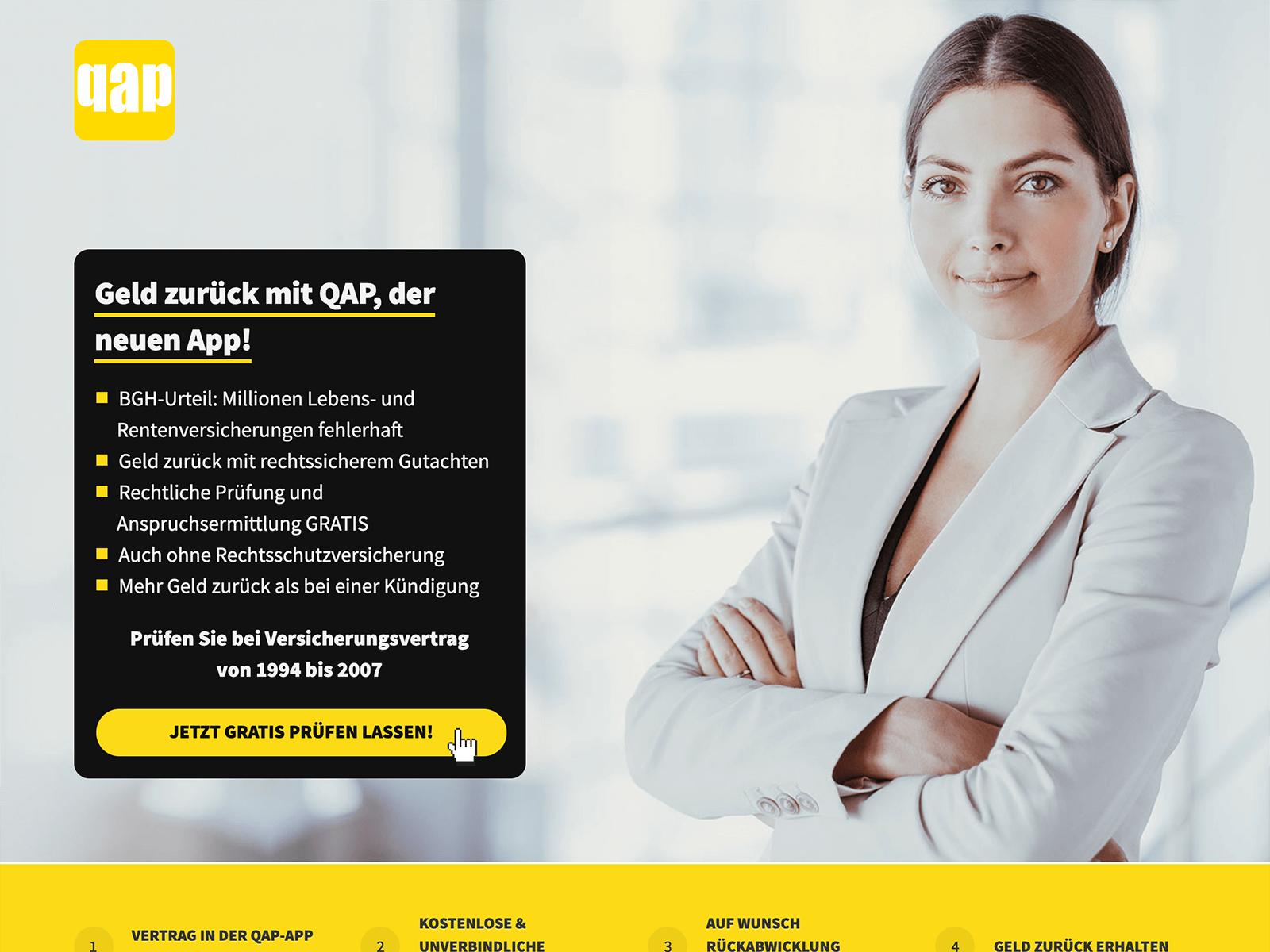 Web-App für Finanzprodukte - QAP die App