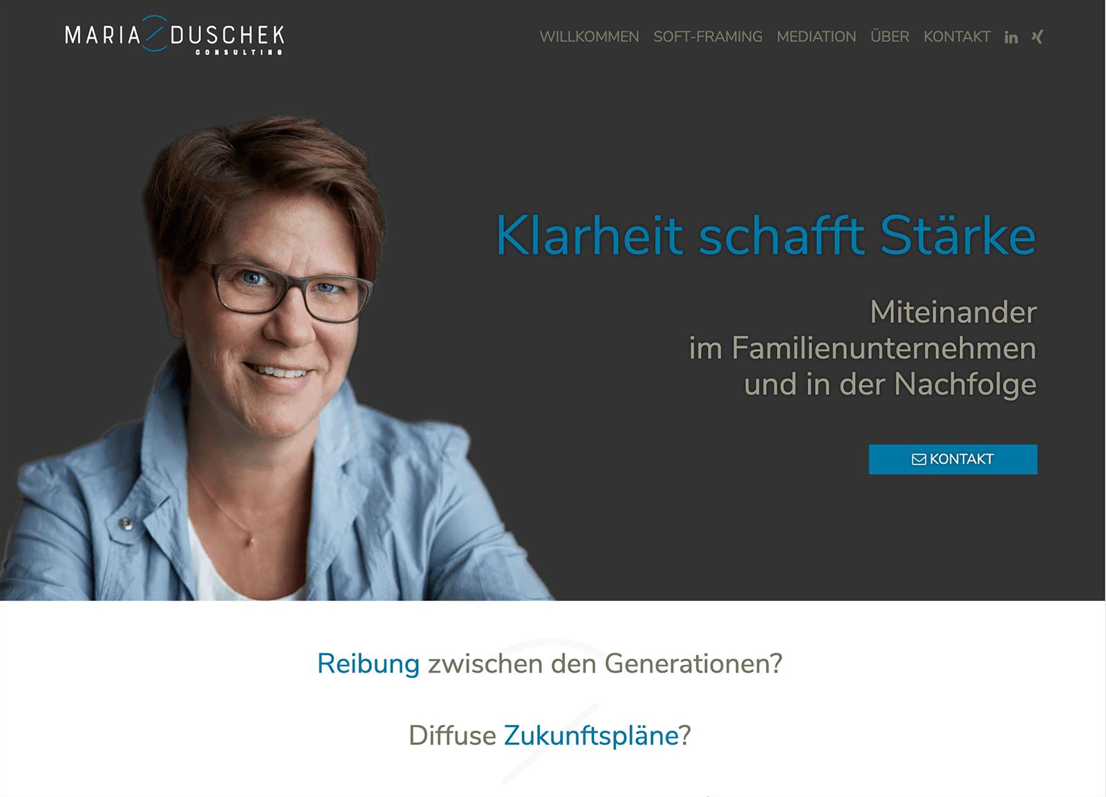 Onepager auf Wordpress für Maria Duschek Consulting